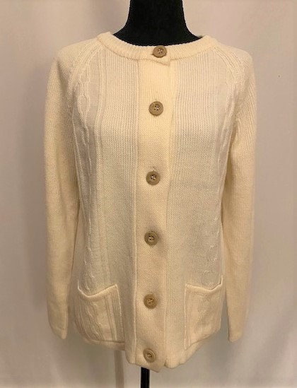Vintage Scarf Styles -1920s to 1960s Vintage 70S Off-White Womens Knit Cardigan Sweater, Size Large $0.00 AT vintagedancer.com