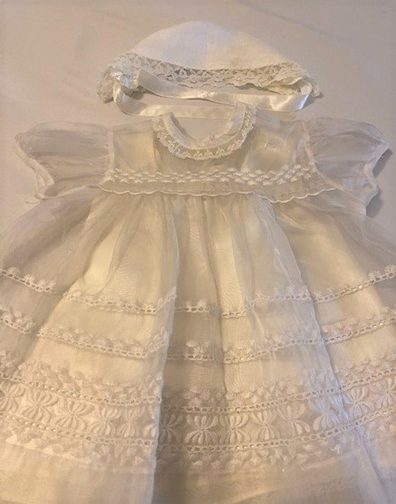 vintage '60s Christening gown with underdress & h… - image 2