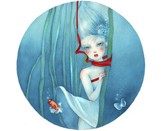 Underwater Girl - 1/150 Giclee Print from Watercolor Painting Original Art Illustration