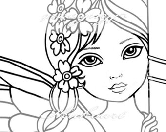 Line Art Digital Stamp Image Adult Coloring Page Printable Instant Download - Angel Book Fairy Girl