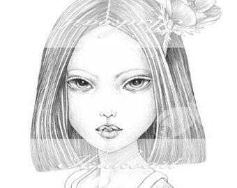 Grayscale Art Digital Stamp Image Adult Coloring Page Printable Instant Download - Anemone Girl