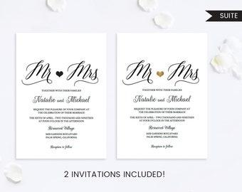 Wedding Invitation Set,Wedding Invitation Mr and Mrs,Wedding Invitation Suite,Wedding Invitation Printable,Wedding Invitation PDF,Modern