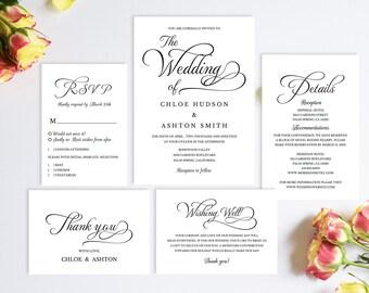 Wedding Invitation Set,Wedding Invitation Suite,Wedding Invitation Template,Wedding Invitation Printable,Wedding Invitation Set Calligraphy