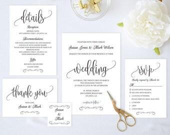 Wedding Invitation Set,Wedding Invitation Printable,Wedding Invitation Suite,Wedding Invitation Template,Instant Download Pdf,Modern Invite