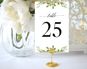 Table Numbers Template,Wedding Table Numbers Greenery,Table Numbers Printable,Greenery Table Numbers,Table Numbers 1-40,Instant Download PDF