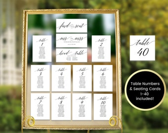 Wedding Seating Chart Template,Seating Chart Wedding,Seating Chart Cards,Wedding Seating Cards,Seating Cards Printable,Pdf Instant Download