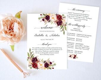 Wedding Program Template,Marsala Wedding Program Printable,Floral Wedding Program,Order of Ceremony,Wedding Program Burgundy,PDF Download
