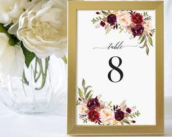 Table Numbers 1-40,Wedding Table Numbers Printable,Table Numbers Template,Wedding Table Numbers,Table Numbers Marsala,Floral Table Numbers
