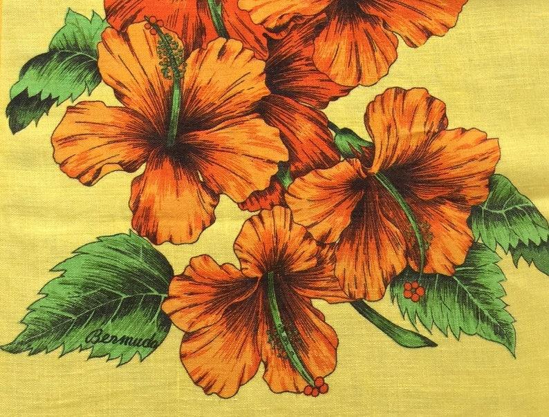 Vintage Souvenir Bermuda Hibiscus Flower Linen Tea Kitchen Etsy