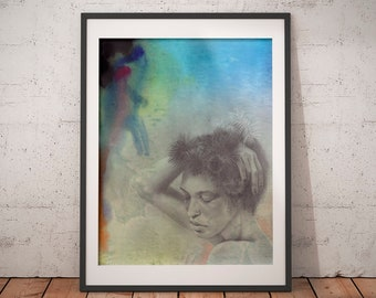 Girl Echinus · Art Print · Art Giclée Print · Wall Art · Watercolor Art · Graphite Art · Abstract Art · Figurative Art ·
