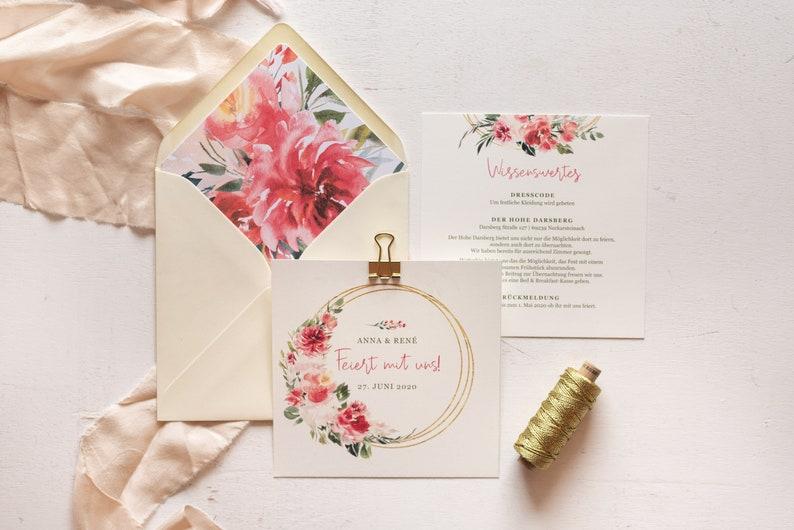 40x Wedding Invitation Romantic Coral Flowers  image 0