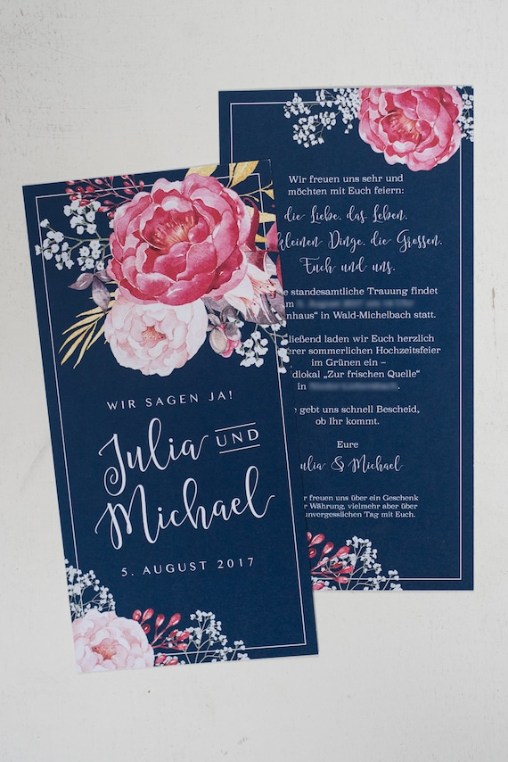 50x Wedding Invitation» Dramatic Vintage «| Navy Blue | Pink | Flowers | Veiled Herb