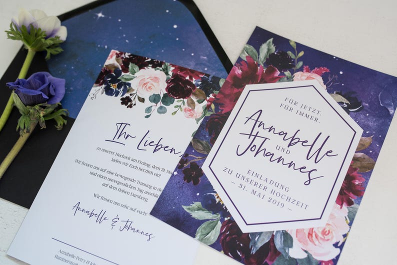 b426e7589 50x Wedding Invitation Mystic Violet with flowers
