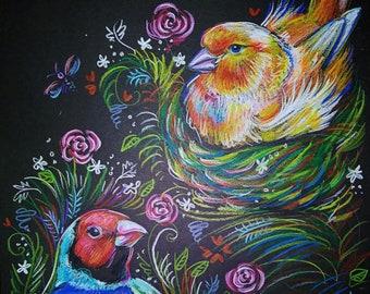 Birdie garden original art