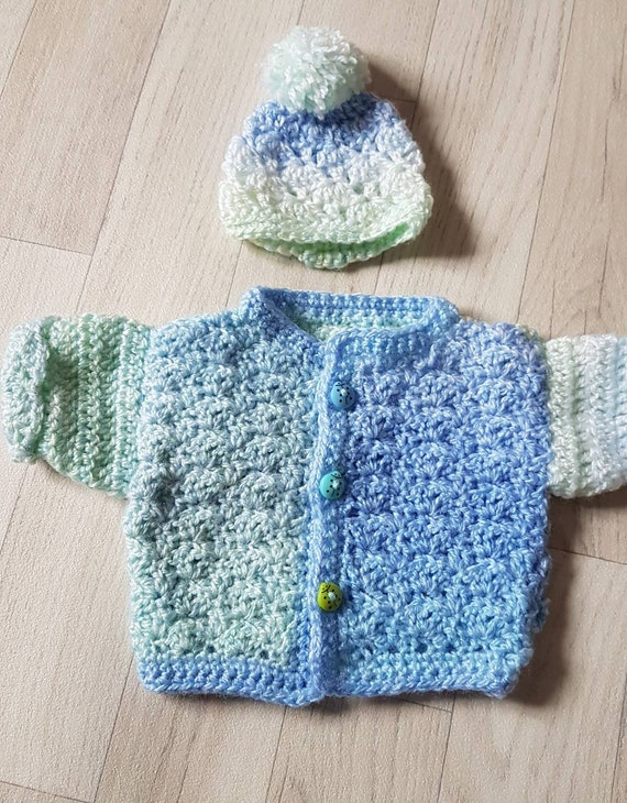 ad4545d93 Premature baby boy cardigan and hat set. Handmade vintage and