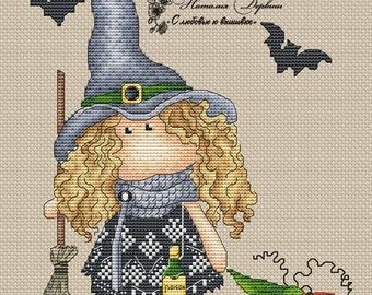a0f85ba328c Girl Cross Stitch Witch Cross Stitch Pattern PDF Instant Download  Embroidery Cute Wall Decor Nursery Tilda Cross Stitch Doll Cross Stitch