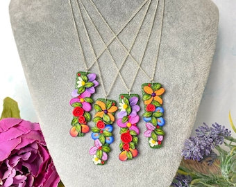 Painted Polymer Clay Handmade Beaded Face Necklace Secret Keeper Seed Beads -Collaboration