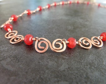 Copper and Red Agate Necklace, Copper Necklace, Red Agate Beads, Beaded Necklace, Hammered Copper, Copper Jewellery, Copper Wire Wrapped