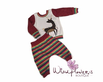 1afb273180 Baby Boy Christmas Outfit   Shirt with Reindeer   Cloth Diaper Friendly    Handmade   3-6M   OOAK