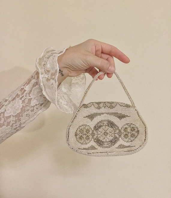 Vintage 1940s Czech Mini Beaded Purse, Vintage Bea