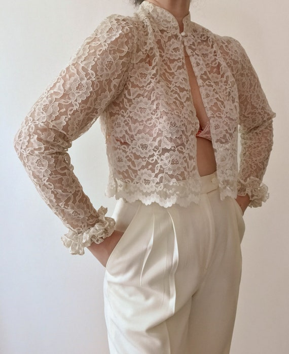 Vintage 1950s Off White Lace Blouse, Vintage Lace