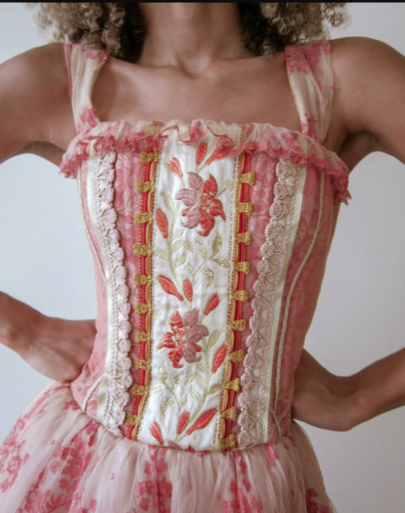 Vintage Pink Corset Dress, Vintage Corset, Vintage