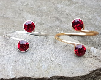 Sterling Silver, 12K Gold Filled wire Toe Knuckle Midi Adjustable Ring with Siam red Swarovski crystals