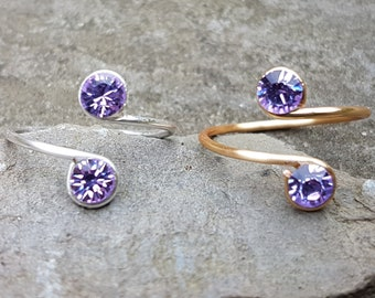Sterling Silver, 12K Gold Filled wire Toe Knuckle Midi Adjustable Ring with Light Purple Swarovski crystals