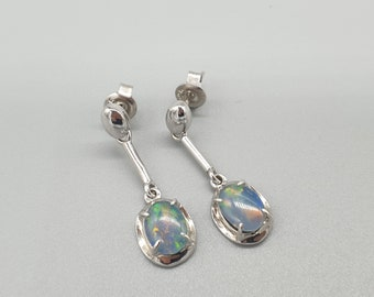 Natural solid rainbow Black opal earrings drop dangle 9ct Gold or 925 Silver