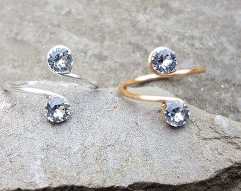 Sterling Silver, 12K Gold Filled wire Toe Knuckle Midi Adjustable Ring with Clear Swarovski crystals