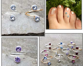 Sterling Silver, 12K Gold Filled wire Toe Knuckle Midi Adjustable Ring with Swarovski rhinestones,crystals