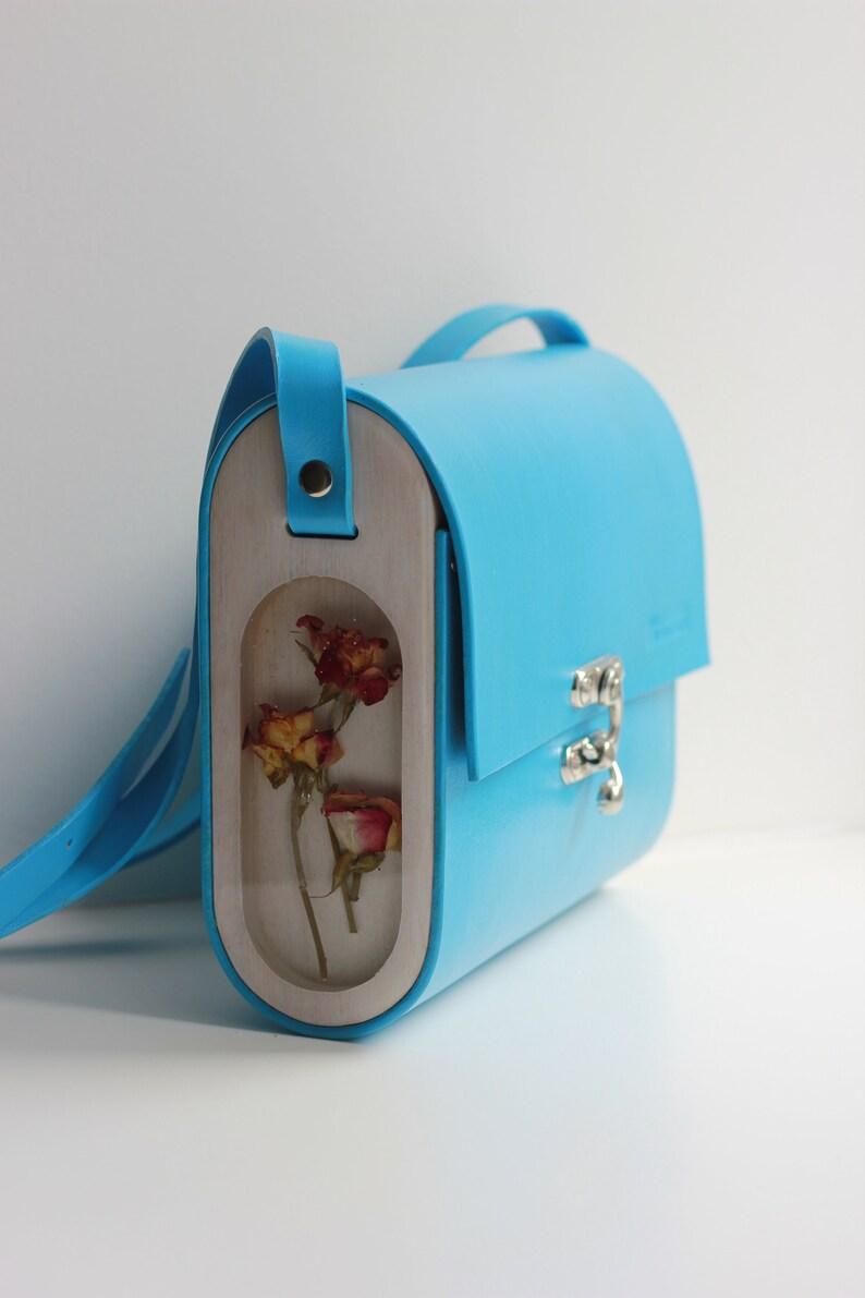 d88944895 Epoxy resin wooden crossbody bag sky blue leather shoulder | Etsy