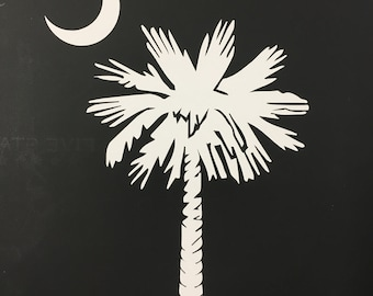 Decal-White Vinyl Palmetto Tree and Crescent Moon