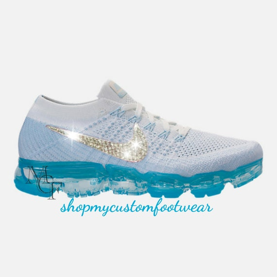 0580e7b657c0dd Blue and white Nike vapormax Customized with Swarovski