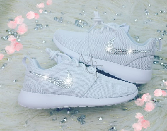 2ca67f8051a9 White Nike Roshe Customized with Swarovski Crystals