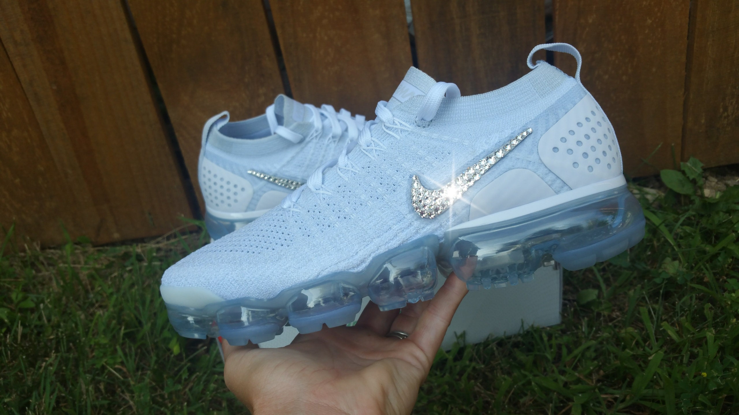 852c29e3bc20 White Nike Vapormax Customized with swarovski Crystals