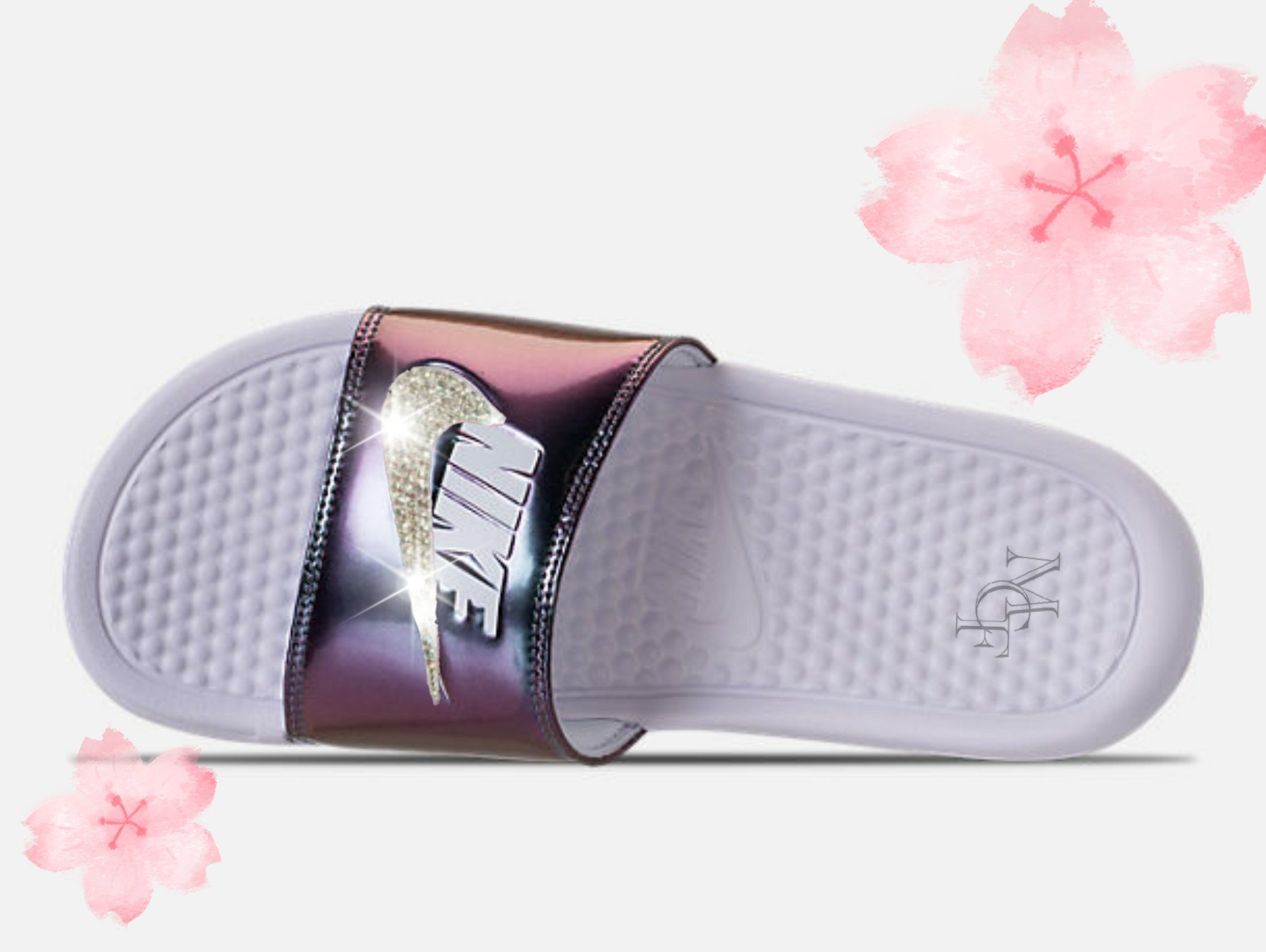 8084356e1 ... sale nike benassi slides sandals customized with swarovski etsy 15d4d  798a0