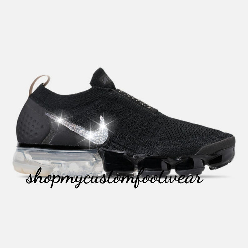 f8c52960b899e Black Nike Vapormax 2 Customized with swarovski Crystals
