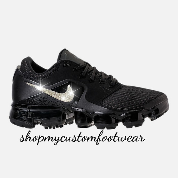 a231d88cfdb54 Black Nike Vapormax Customized with swarovski Crystals