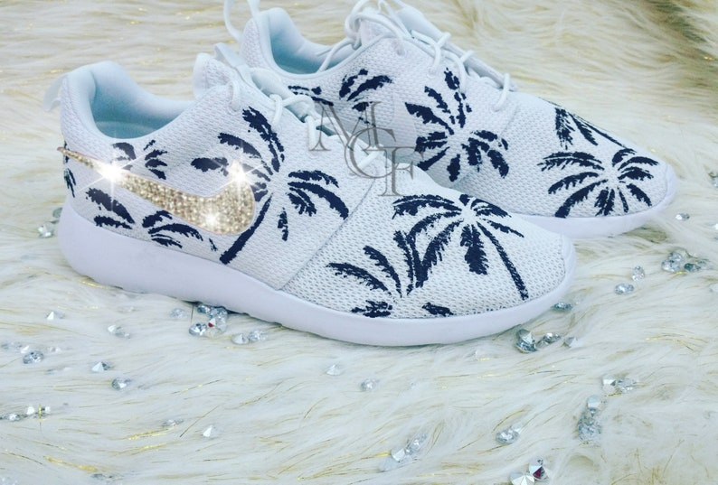 new style 5fd3c 49688 Palm tree nike roshe customized with swarovski crystals   Etsy