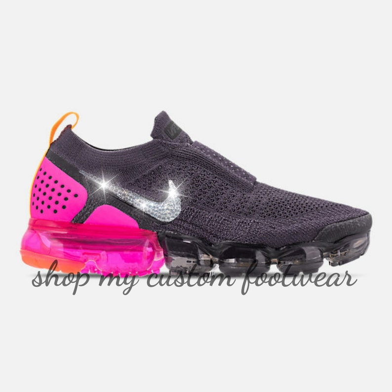 8ab253aeb423f Black & pink Nike Vapormax 2 Customized with swarovski Crystals