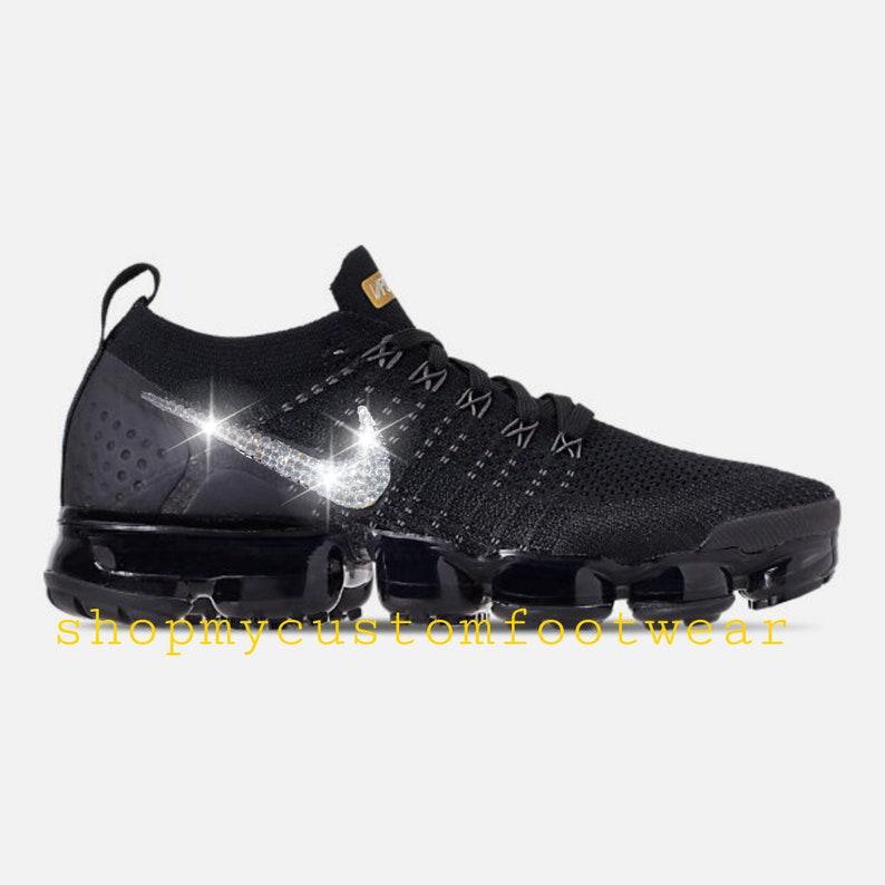 5aff94720430 Black Nike Vapormax 2 Customized with swarovski Crystals