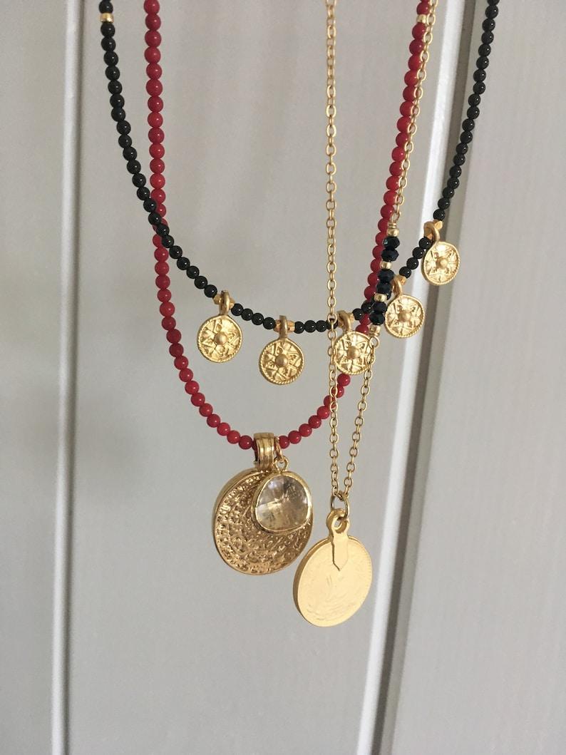 black Beaded disc necklaceblack onyx necklaceBoho necklaceLayering necklaceBeaded gold coin necklaceBoho jewelryStatement necklace