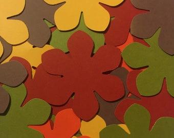 50 Fall Flower Cutouts - Thanksgiving - Flower Confetti - Scrapbook Flowers - Flower Die Cuts