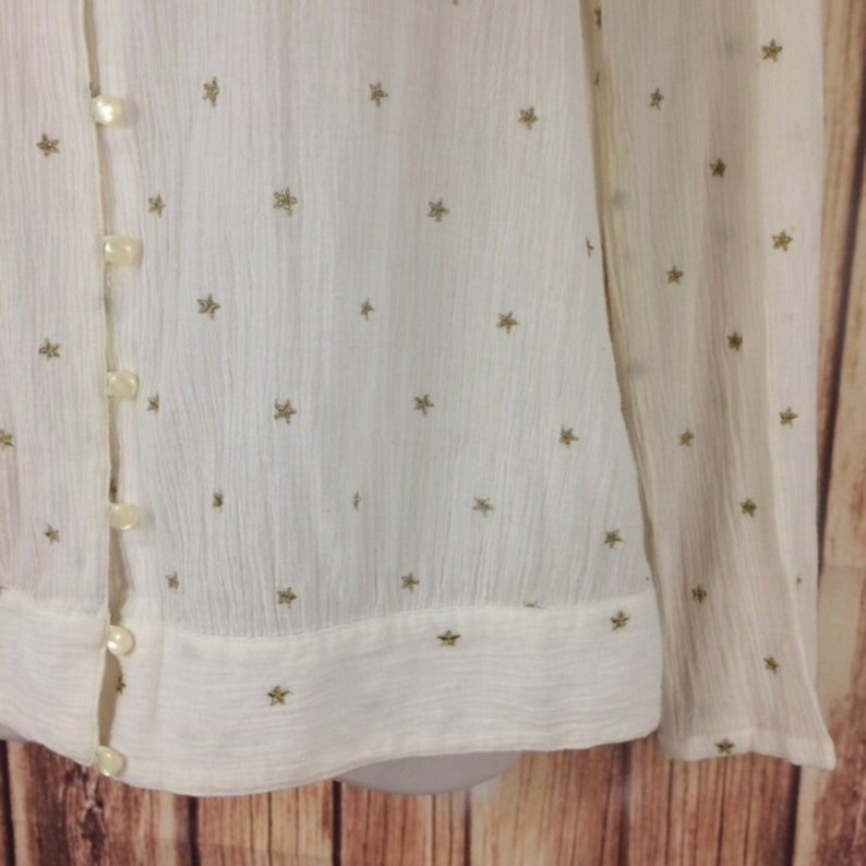 Vintage Y2k Tommy Hilfiger Cream Boho All Over Star Print Shirt Semi Sheer Cottage Core Aesthetic