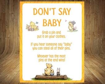 Winnie the Pooh Don't Say Baby, Classic Winnie the Pooh Don't Say Baby, Classic Winnie the Pooh Baby Shower, Winnie the Pooh Baby Shower