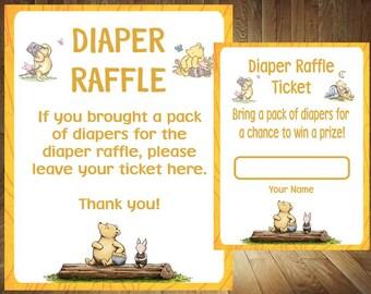 Winnie the Pooh Diaper Raffle, Classic Winnie the Pooh Diaper Raffle, Classic Winnie the Pooh Baby Shower, Winnie the Pooh Baby Shower