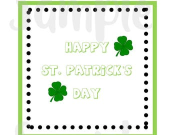 Square St Patrick's Day Tags, St Patrick's Day Cupcake Topper, Printable Tags