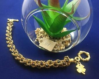 Czech Crystal and Glass Bead Woven Bracelet