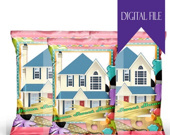 Home Sweet Home Housewarming Custom Favor Bag- Custom Chip Bag-Home Sweet Home-Custom Snack Bag-Digital -Printable-Party Favor